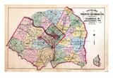 1879, Outline Map - Prince George County, Maryland, Fairfax and Alexandria Counties Virginia, Distr Reproduction procédé giclée