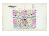 1895, Henry County Outline Map, Missouri, United States Giclee Print