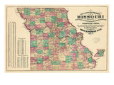 1877, State Map, Missouri, United States Giclee Print