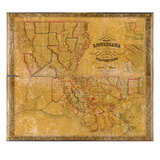 1848, Louisiana State Map with Landowner Names, Louisiana, United States Giclee Print