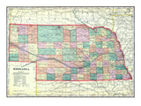 1912, State Map, Nebraska, United States Giclee Print