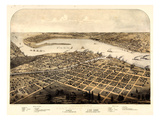1867, Port Huron - Sarnia - Gratiot Bird's Eye View, Michigan, United States Giclee Print