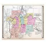 1898, Fort Wayne Outline Street and Ward Map, Indiana, United States Giclee Print