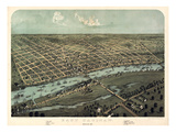 1867, Saginaw Bird's Eye View, Michigan, United States Giclee Print