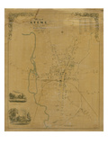 1853, Keene Wall Map, New Hampshire, United States Giclee Print