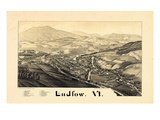 1885, Ludlow Bird's Eye View, Vermont, United States Giclee Print