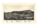 1889, Bristol Bird's Eye View, Vermont, United States Giclee Print