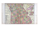 1912c, Missouri State Map, Missouri, United States Giclee Print