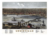 1876, Louisville Bird's Eye View, Kentucky, United States Giclee Print