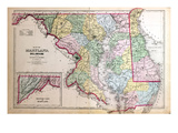 1879, Maryland, Deleware and District of Columbia Map, District of Columbia, United States Giclee Print
