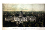 1857, Washington City and Capitol 1857c Bird's Eye View, District of Columbia, United States Reproduction procédé giclée