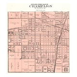 1929, Outline Street Map - Champaign, Illinois, United States Giclee Print