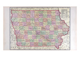 1908, Iowa State Map, Iowa, United States Giclee Print