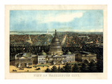 1871, Washington City and Capitol Bird's Eye View, District of Columbia, United States Giclee Print