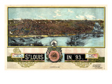 1892, Saint Louis 1892c Panoramic View Published by Graf, Missouri, United States Giclee Print
