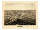 1869, Warrensburg Bird's Eye View, Missouri, United States Giclee Print