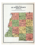 1912, Le Sueur County Outline Map, Minnesota, United States Giclee Print