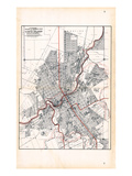 1907, Flint - Ward and Street Map, Michigan, United States Giclee Print