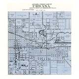 1929, Outline Street Map - Urbana, Illinois, United States Giclee Print