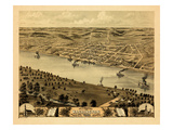 1869, Washington Bird's Eye View, Missouri, United States Giclee Print