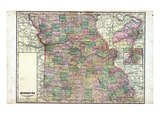 1918, State Map, Missouri, United States Giclee Print