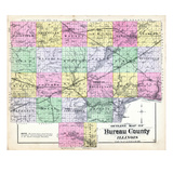 1892, Bureau County Outline Map, Illinois, United States Giclee Print