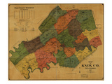 1895, Knox County Wall Map, Tennessee, United States Giclee Print