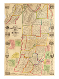 1853, Washington County 1853 Wall Map, New York, United States Giclee Print