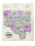 1897, Chariton County Outline Map, Missouri, United States Giclee Print