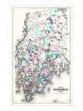 1881, Hancock County Map, Maine, United States Giclee Print