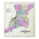 1880, Knox County Outline Map, Indiana, United States Giclee Print