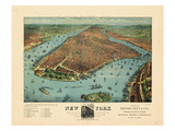 1879, New York City 1879 Bird's Eye View, New York, United State Giclee Print