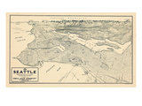 1925, Seattle Bird's Eye View, Washington, United States Giclee Print