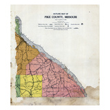 1924, Pike County Outline Map, Missouri, United States Giclee Print