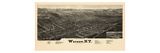 1885, Warsaw 1885 Bird's Eye View 24x43, New York, United States Giclee Print