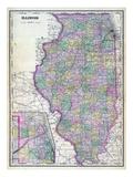 1892, Illinois State Map, Illinois, United States Giclee Print