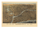 1872, Milwaukee Bird's Eye View, Wisconsin, United States Giclee Print