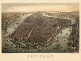 1873, New York City, 1873, Bird's Eye View, New York, United States Giclee Print