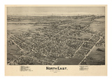 1896, North East Bird's Eye View, Pennsylvania, United States Giclee Print