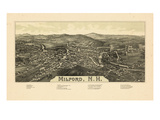 1886, Milford Bird's Eye View, New Hampshire, United States Giclee Print