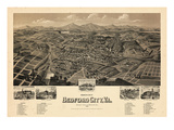 1891, Bedford City Bird's Eye View, Virginia, United States Giclee Print