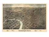 1872, Columbus Bird's Eye View, Ohio, United States Giclee Print