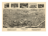 1912, Asheville Bird's Eye View, North Carolina, United States Giclee Print