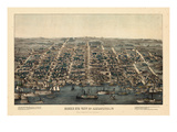 1863, Alexandria Bird's Eye View, Virginia, United States Giclee Print
