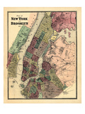 1867, New York &amp; Brooklyn Plan, New York, United States Giclee Print