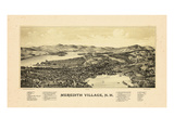 1889, Meredith Village Bird's Eye View, New Hampshire, United States Giclee Print