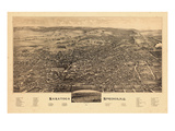 1884, Saratoga Springs 1884 Bird's Eye View, New York, United States Giclee Print