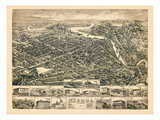 1883, Nashua Bird's Eye View, New Hampshire, United States Giclee Print