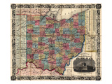 1854, Ohio State Map Township and Railroad Map, Ohio, United States Giclee Print