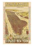 1891, New York City 1891 Bird's Eye View on Playbill, New York, United States Giclee Print